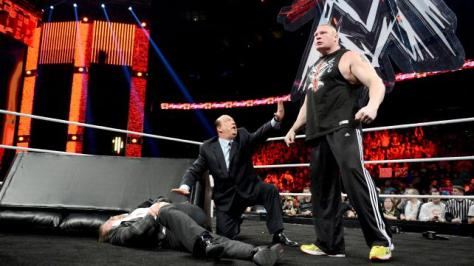 Every Lesnar segment ends with a broadway show styled scene like this