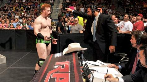 "Sandow; ""Kindly leave."" Sheamus; ""FELLAAAAA"" PUNCH PUNCH PUNCH"